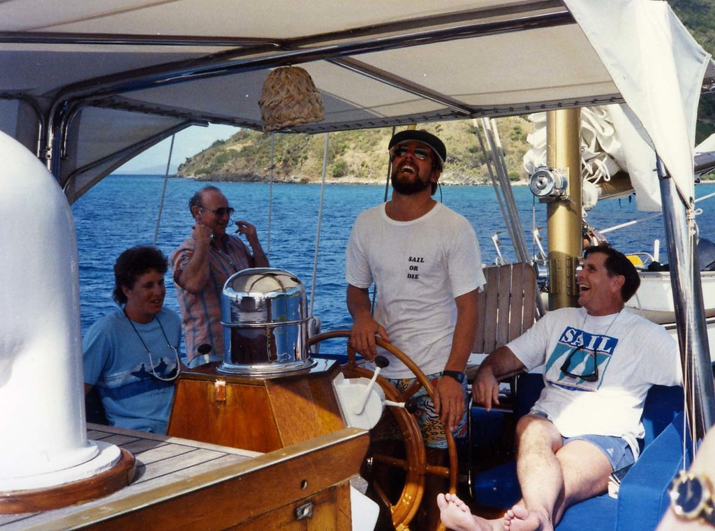 Laughing aboard trip to Virgin Islands aboard the Natasha, March 18-25, 1989