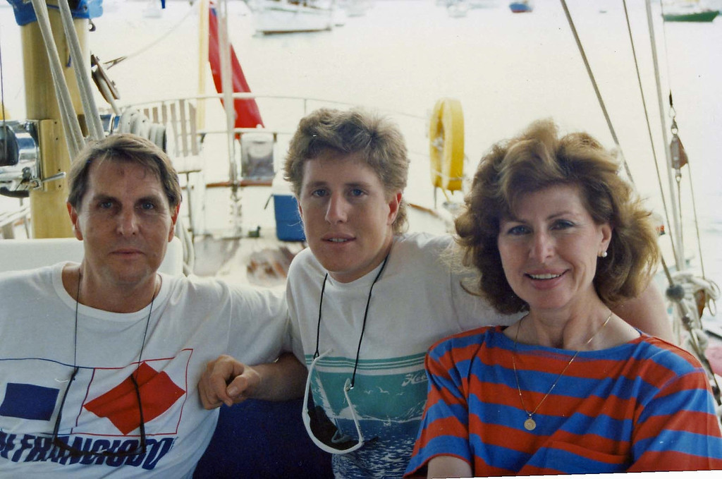 Tom, Betty and Tommy on board trip to Virgin Islands aboard the Natasha, March 18-25, 1989