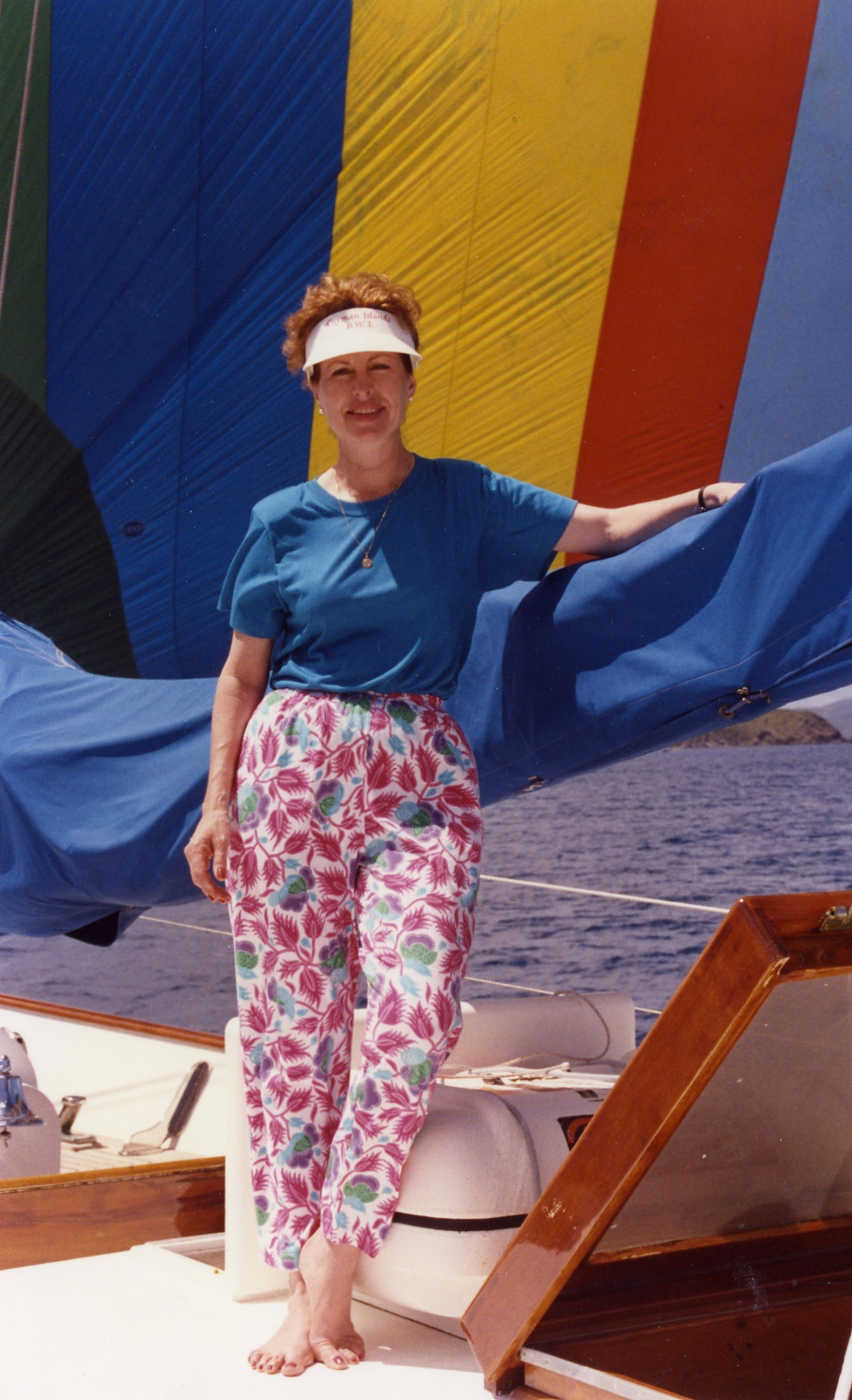 Betty in front of sail Trip to Virgen Islands 1989