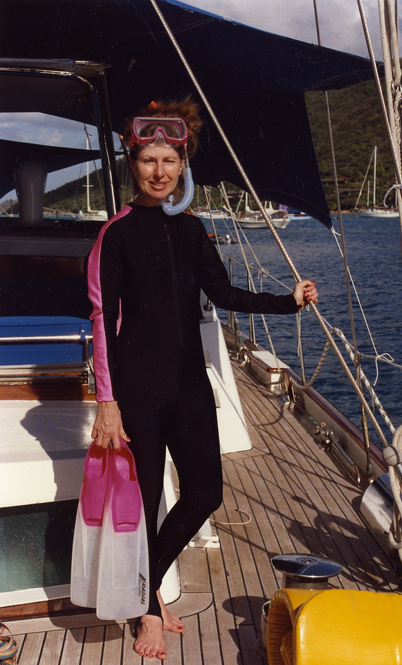 Betty suited up for snorkeling Trip to Virgen Islands 1989