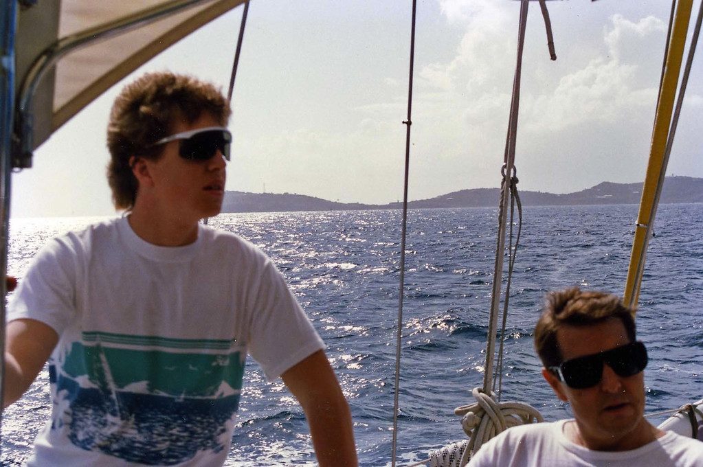 Tom and Tommy sailing away trip to Virgin Islands aboard the Natasha, March 18-25, 1989