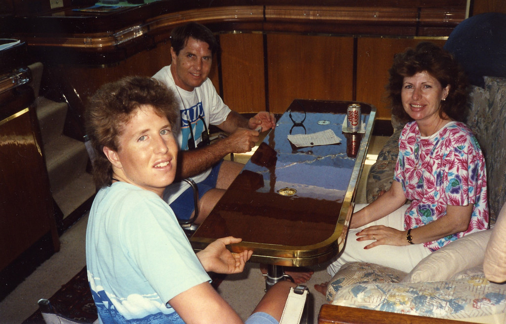 Playing cards with family Trip to Virgen Islands 1989
