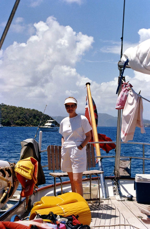 Betty at back of boat British Virgin Island Trip, Easter Vacation
