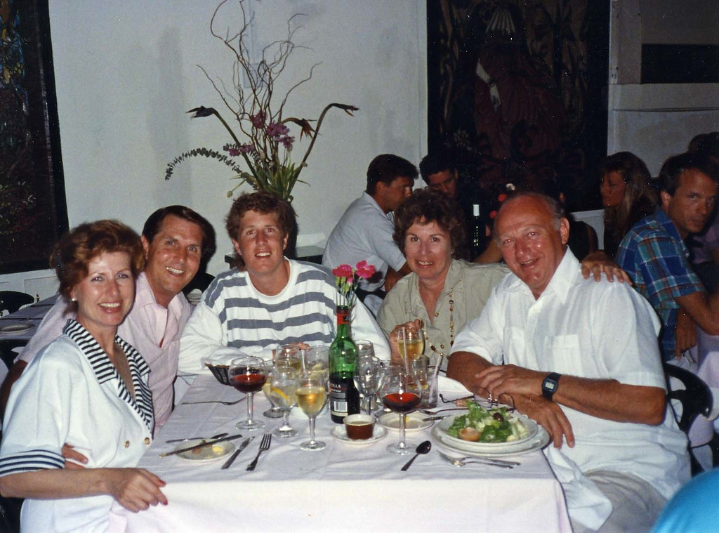 Dinner with our group on one of the many Islands trip to Virgin Islands aboard the Natasha, March 18-25, 1989