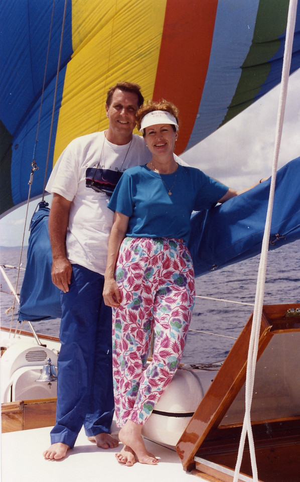 Tom and Betty by the sail Trip to Virgen Islands 1989
