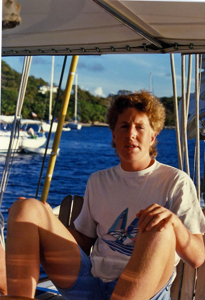 Tommy relaxing trip to Virgin Islands aboard the Natasha, March 18-25, 1989