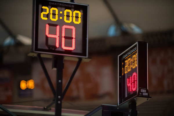 The shot clock is set to zero before the start of the Orange Basketball game.