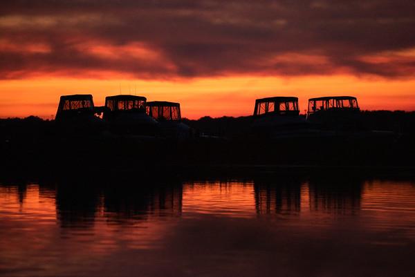 The sunsets over Onondaga Lake marina.