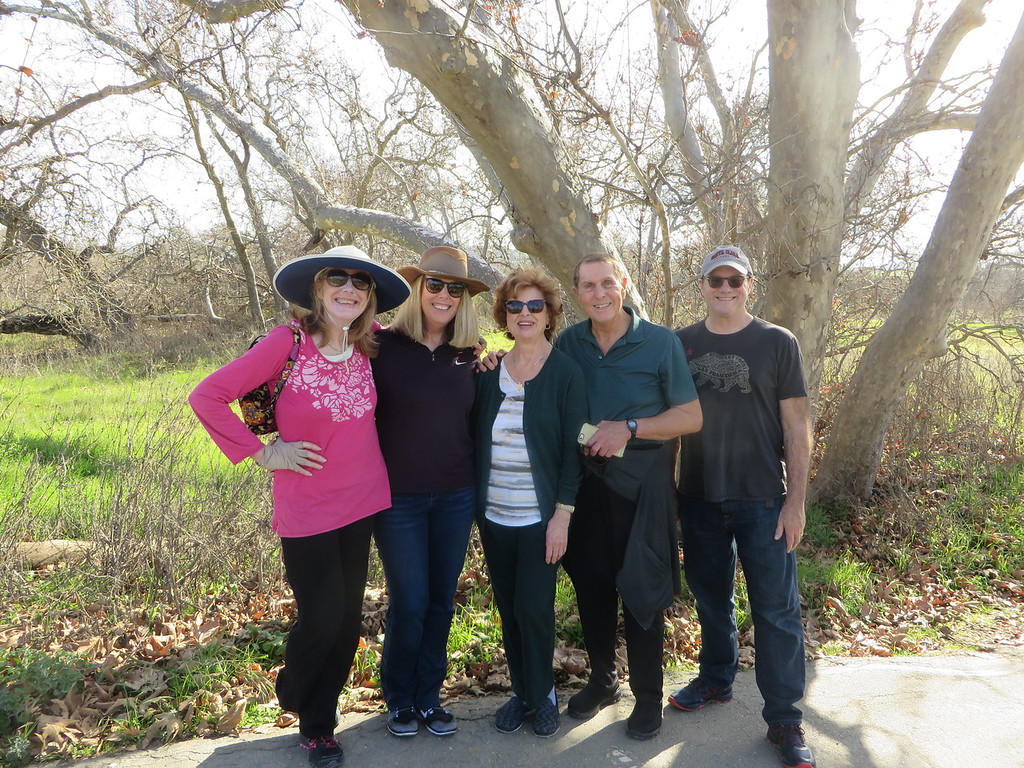 Patty, Mary, Billy, Betty and Tom walking in Secamoe Grove in Pleasanton, California on Super Bowl Sunday, February 4, 2018