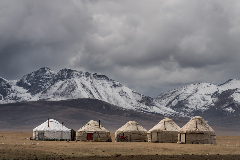 Yurt nomad camp at the banks of Song-Köl Lake in Kyrgyzstan