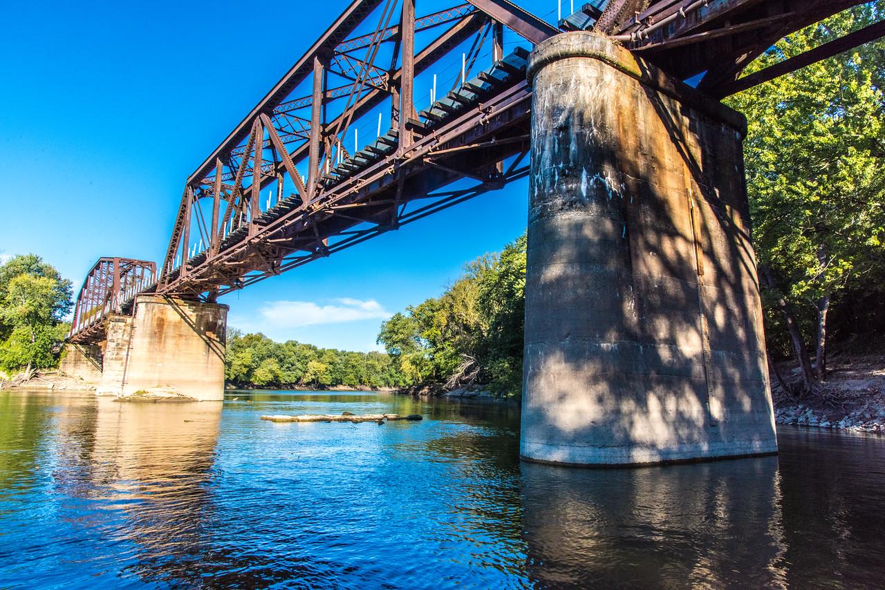Wabash RIver, Vigo Count Big Four Bridge During Low River