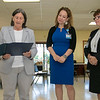 Visiting Nurse Association (VNA) held a centennial celebration at the Leominster Senior Center on Wednesday, September 25, 2019. Leominster City Councilor Claire Freda gives a citation to Shauna Dube Transitional Care and Business Development and Holly Chaffee the president and CEO of CNA during the event. SENTINEL & ENTERPRISE/JOHN LOVE