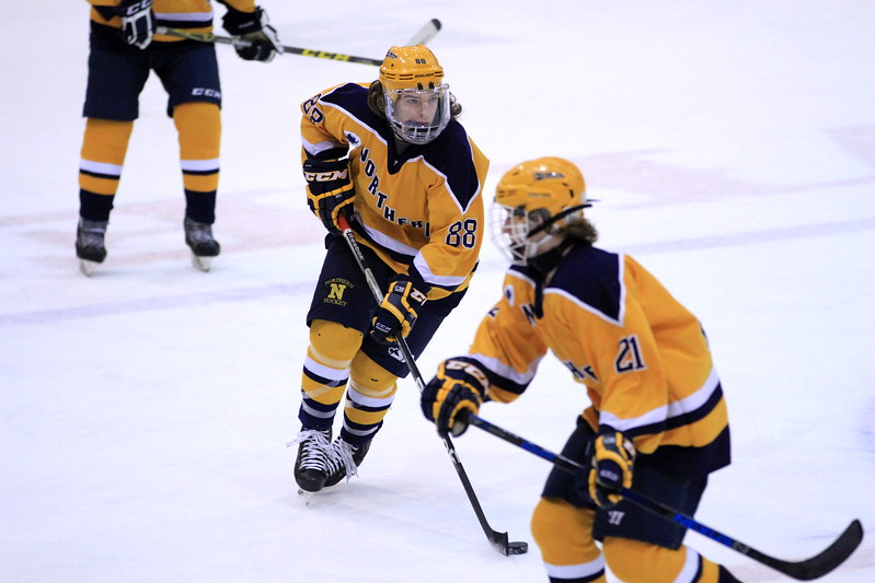 Port Huron Northern's Noah McNutt (88) scored twice and had two assists in the Huskies' 6-3 victory over Dakota Wednesday, Jan. 18. (MIPrepZone photo gallery by Randy Castro)