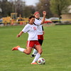 Port Huron's Skye Conrad (10) scored the Big Reds' lone goal in a 7-1 loss. (MIPrepZone photo gallery by Randy Castro)