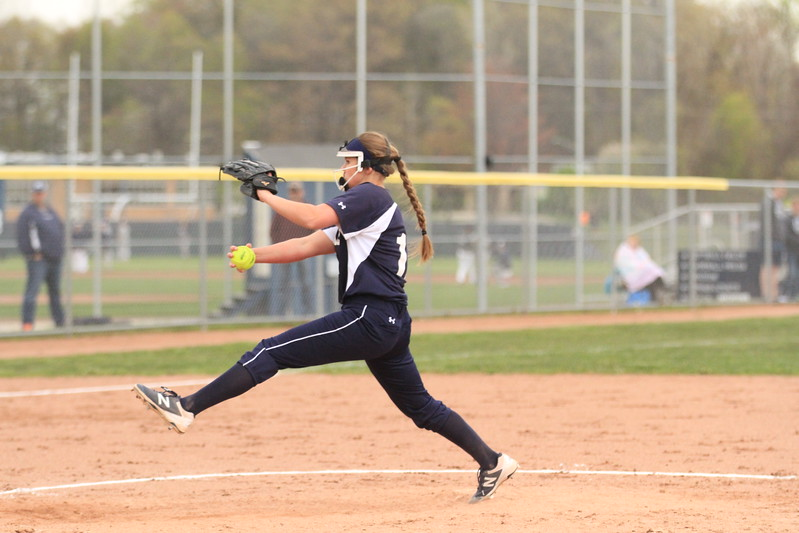Marysville pitcher Paige Ameel (17) threw a four-hit shutout in an 8-0 victory over Port Huron Tuesday, May 9. (MIPrepZone photo gallery by Randy Castro)