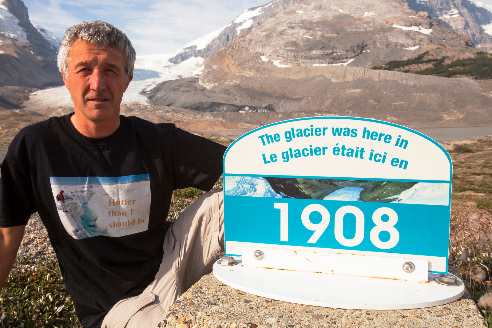 The Athabasca glacier is receding extremely rapidly and has lost over 60% of its ice mass in less than 150 years.