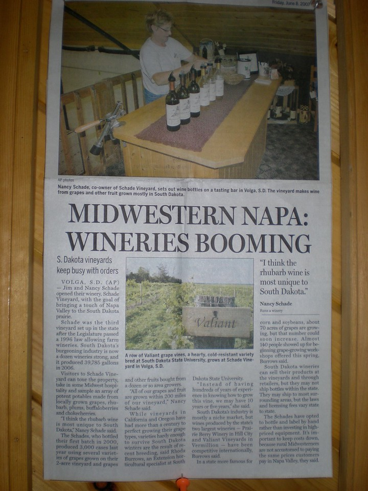 Articles in the newspaper concerning wines produced at Schade' Winery