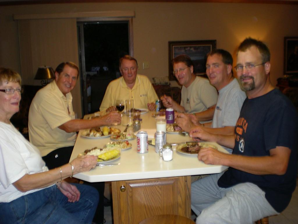 All of the family around Sheldon's dinner table in Volga, SD