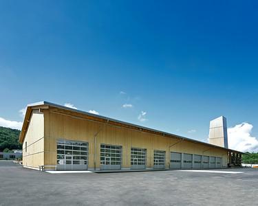 02 Werkhof Sissach | Ansicht Nord- und Ostfassade mit Zufahrten zu Werkstätten und Einstellhalle