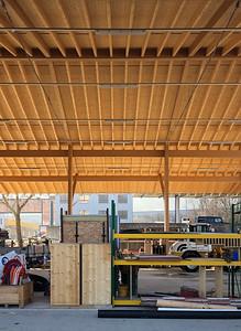05 Dachkonstruktion Aussenlager in Buchen- und Fichtenholz