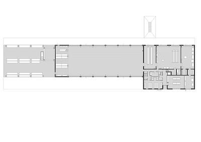 19 Grundriss Erdgeschoss mit Administration, Werkstätten, Einstellhalle  und Aussenlager