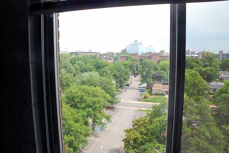 The view from my dorm room on the 9th floor of Carmichael Tower #4 looking towards Branscomb Quad.