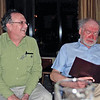 Fencing club alumni Harry Stone (left) and Dale Sweeney at the Friday evening get-together.