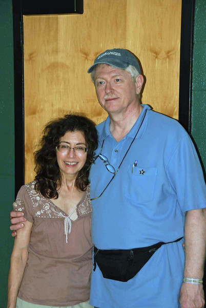 Carole Fernandez and Chuck Stewart, one of many marraiges of fencing club alumni, first met in the fencing club's storage closet pictured here.