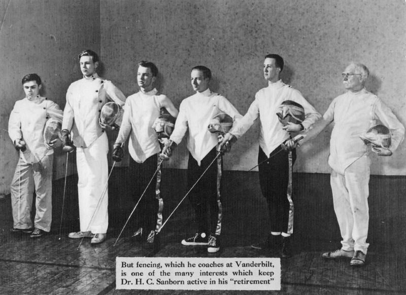 The 1951 Vanderbilt Fencing Team.  From left: Charles Rose, Russell Campbell, unknown, Thomas Belser, Jr., William Brown, Dr. H. C. Sanborn (coach).
