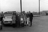 On the road (in Pittsburgh, PA), from left: Linda Higgins, Steve Block, Freddy Borland, Dorothy Moore, unknown (partially obscured), Carole Fernandez, James Hunter, Raymond Finkleman, Dick Vanstrum, Mike Moore.