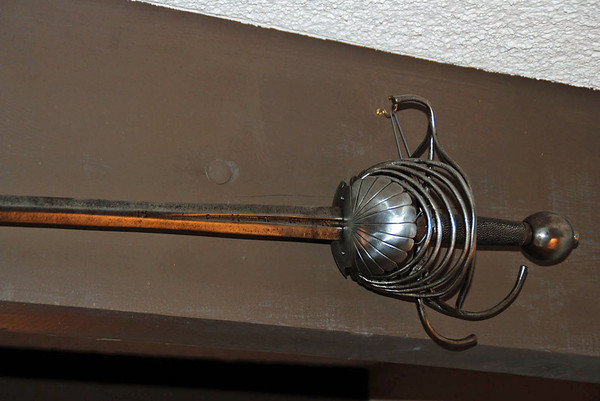 One of Mike Moore's antique weapons on display at Mrs. Moore's home in Tucson, AZ