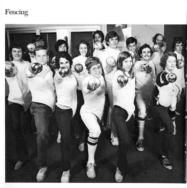 "Front row, left to right:  Steve Matter, Al Boyer, Carol Scholla, John Turnley, Carol Schmitt, Cathy Smotherman.  Back row, left to right:  Greg Utley, Arthur Robinson, Pam Showalter, Bill ""Hack"" Jenkins, Ed Kennedy, Jeff Aldrich, Harry Stone, Dale Sweeney, Andy Auerbach. (1976 Commodore Yearbook)"