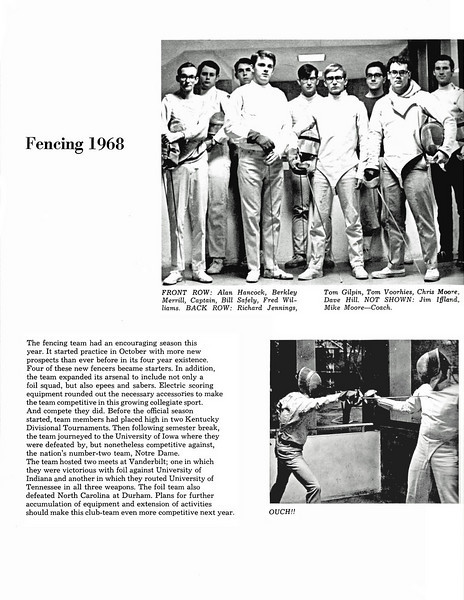 The Vanderbilt Fencing Club in 1968 (from the 1968 Commodore Yearbook).