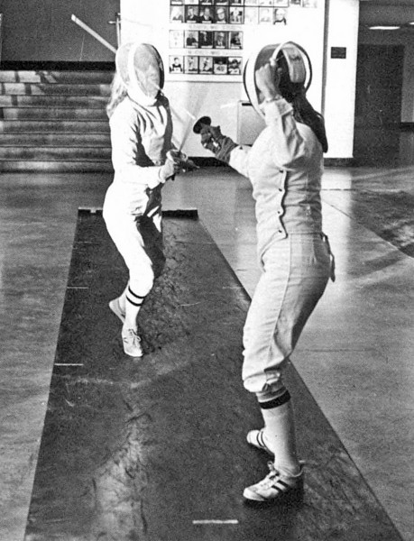 Carol Schmitt on the left.  Teresa Lefebvre on the right.  (1978 Commodore Yearbook).