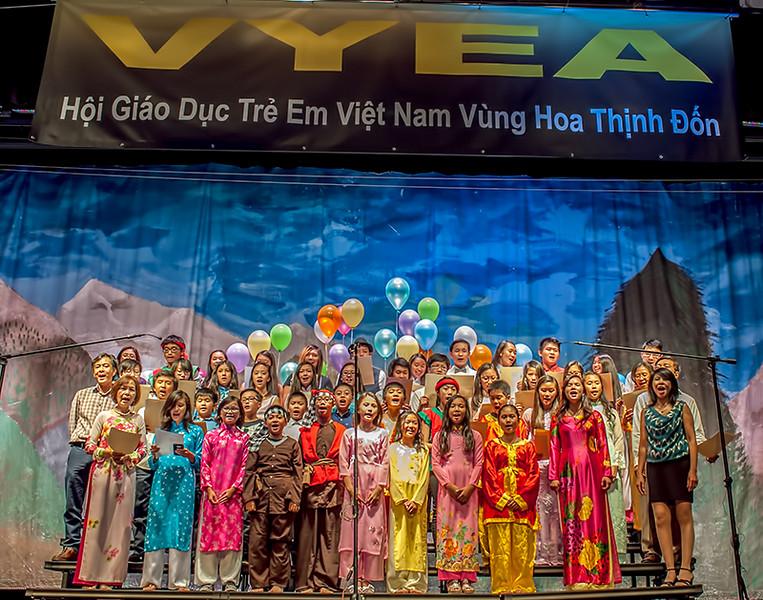 """Classes 5A and 5B and 6 and 7, """"Lối về xóm nhỏ""""<br /> Cô Lan Hương, thầy Thành, cô Phương Thảo, thầy Chánh,"""