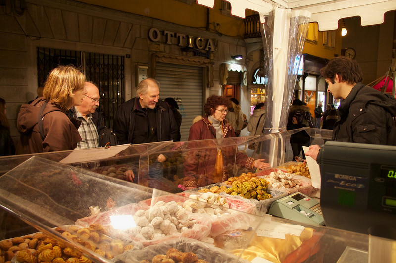 Buying treats in Trieste, Italy.