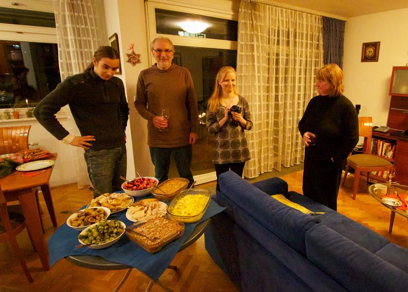 Viljame, Edward, Soile and Marsha at Christmas dinner.