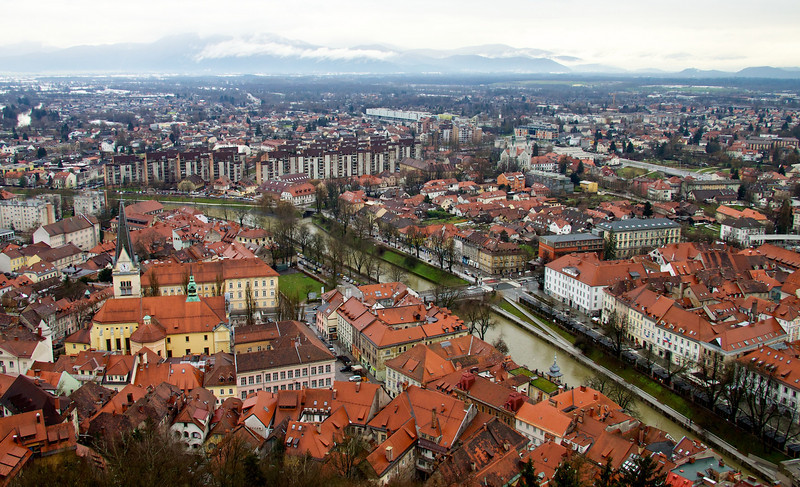 Ljubljana, Slovenia.  Population about 270,000 and about the neatest place we've been.  Slovenia shares borders with Italy, Austria, Croatia, Hungary and .... something else.