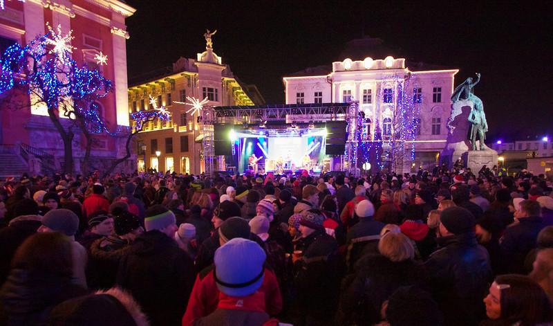 The party at Prešeren Square in Ljubljana.