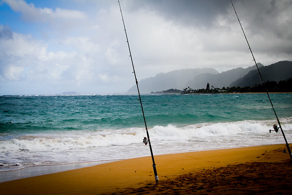 Trip to Hawaii 2012 we came alone a pair of  fishing poles set in the beautiful beach
