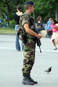 I feel safer already - Armed army men all over Paris, ready to shoot a pick pocket or annoying gypsy