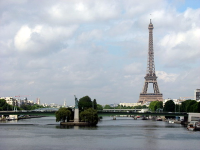 Where else but in Paris can you see the Effiel Tower and the Statue of Liberty at the same time?