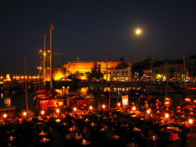 Kyreania Harbour at night