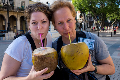 Me and Katie enjoying some coconut water on the streets of Havana