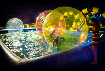 Put your kid in a ball, throw the ball in the water and let the entertainment begin!