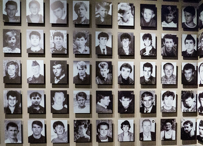Faces of some of the 8,372 mostly men and boys killed in the genocide attack on Srebrenica on July 11, 1995 -  the worst massacre in Europe since WWII