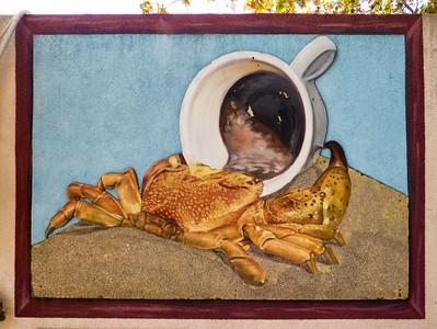 Coffee shop on the beach - a crab getting his caffeine fix