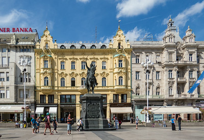 Jelacic Square, the main square in Zagreb.