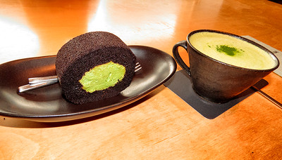 Green Tea with Chocolate Cake roll with Green Tea Cream.