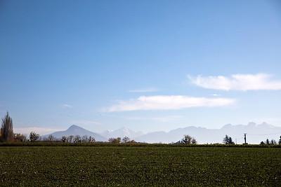 View towards the hazy Mt Blanc